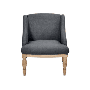 The Hampi armchair in charcoal linen for rent