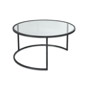 Glass and Black round Coffee table