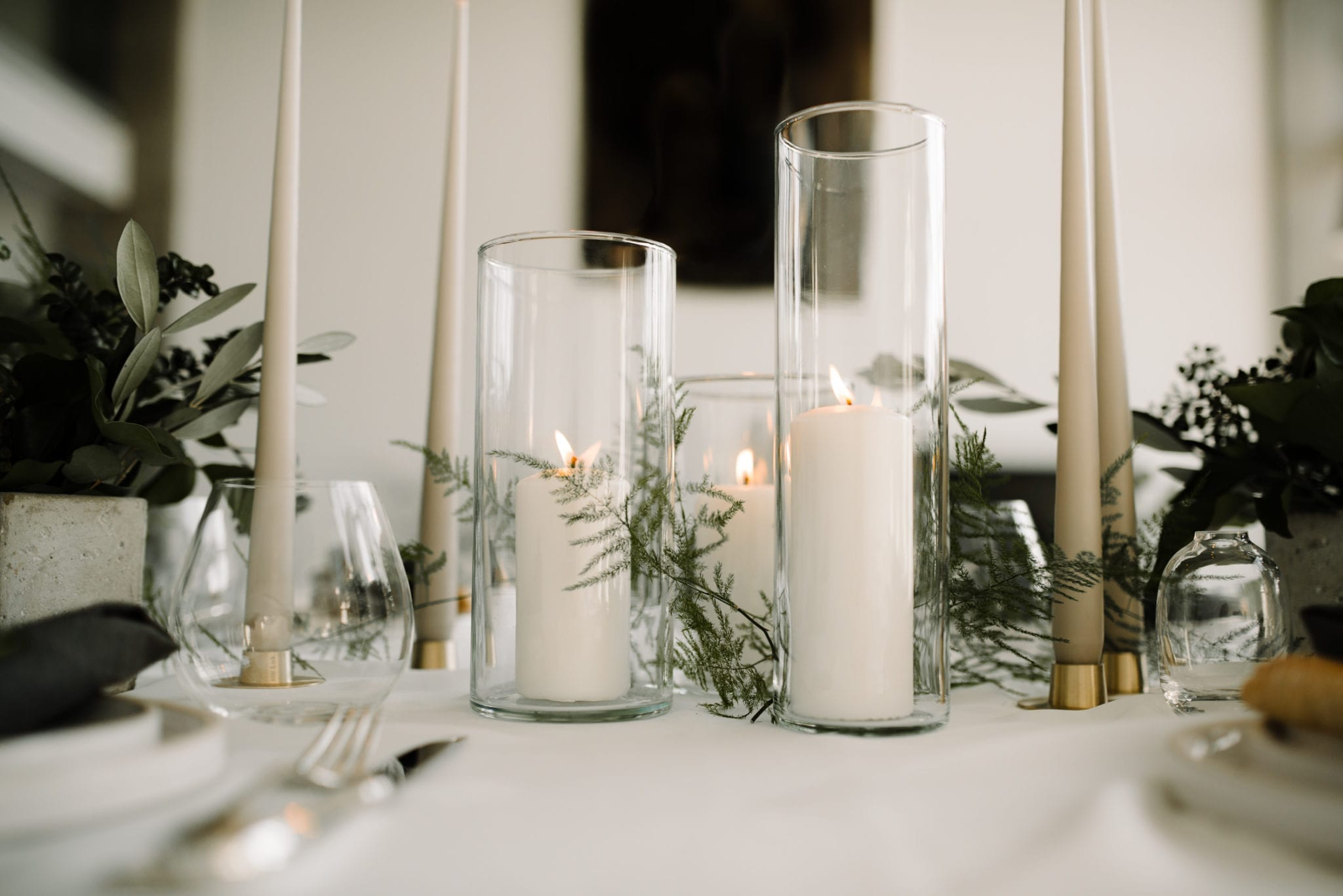 Candles and Foliage table decoration