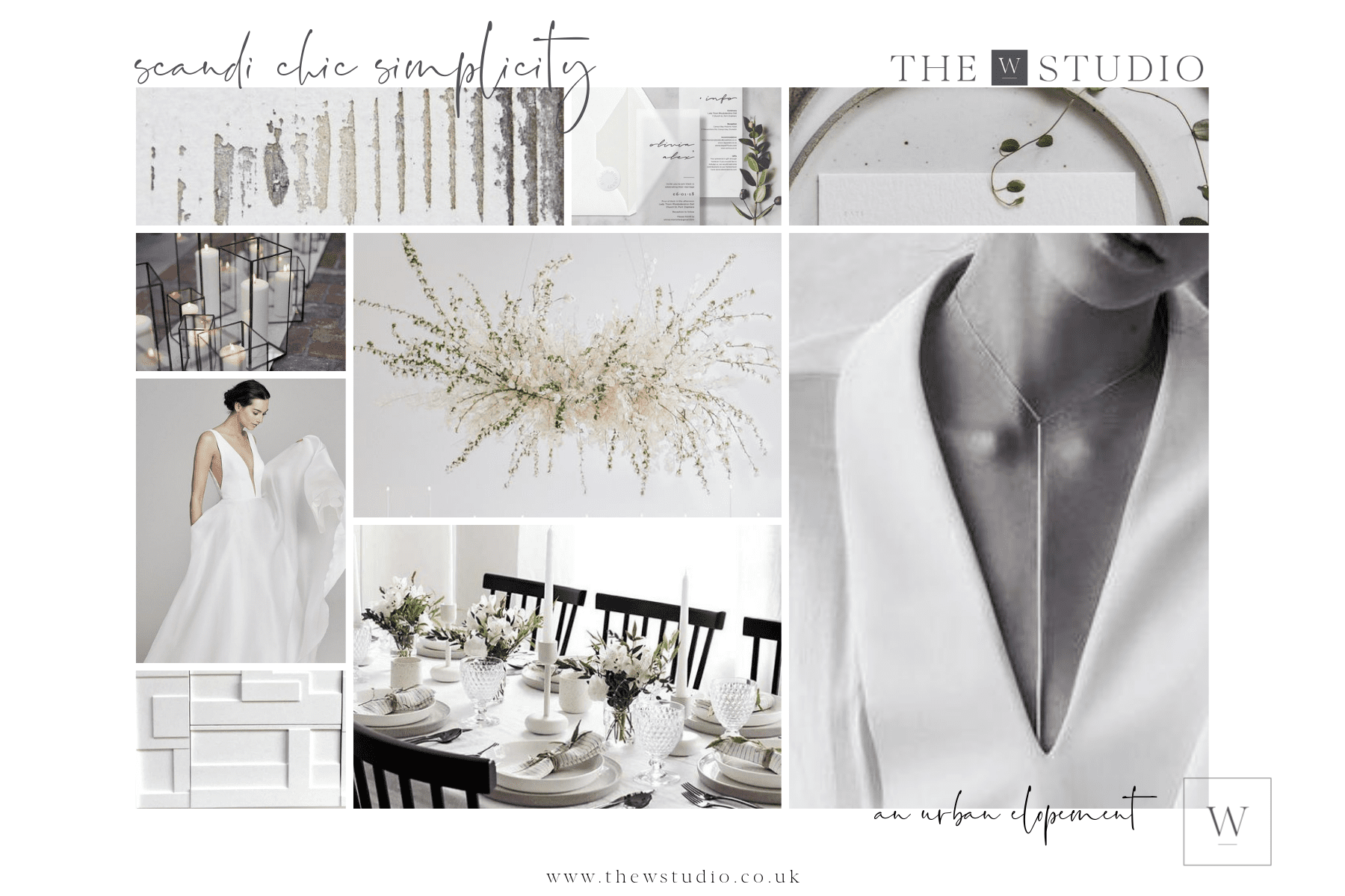 Scandi Chic Wedding Mood Board - Tips to creating a mood board