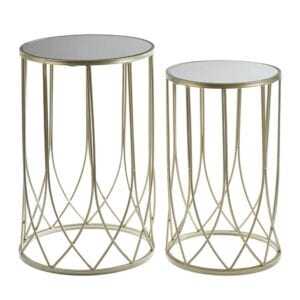 Metal and glass table set