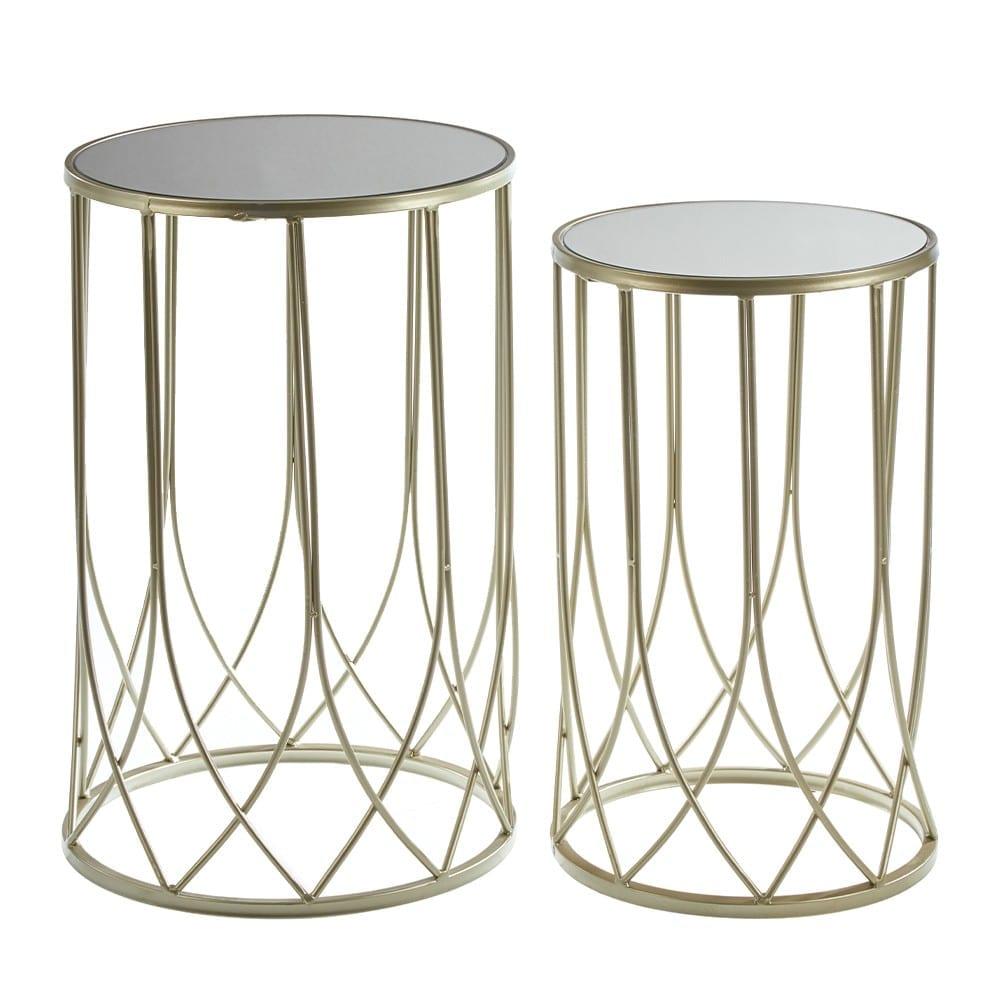 Metal and glass table set