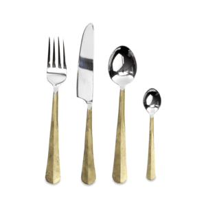 Brushed gold and silver cutlery set for editorial styled shoots