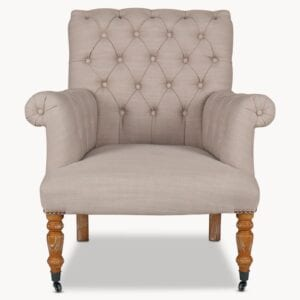 The Norton Armchair in stone for rent to weddings and events