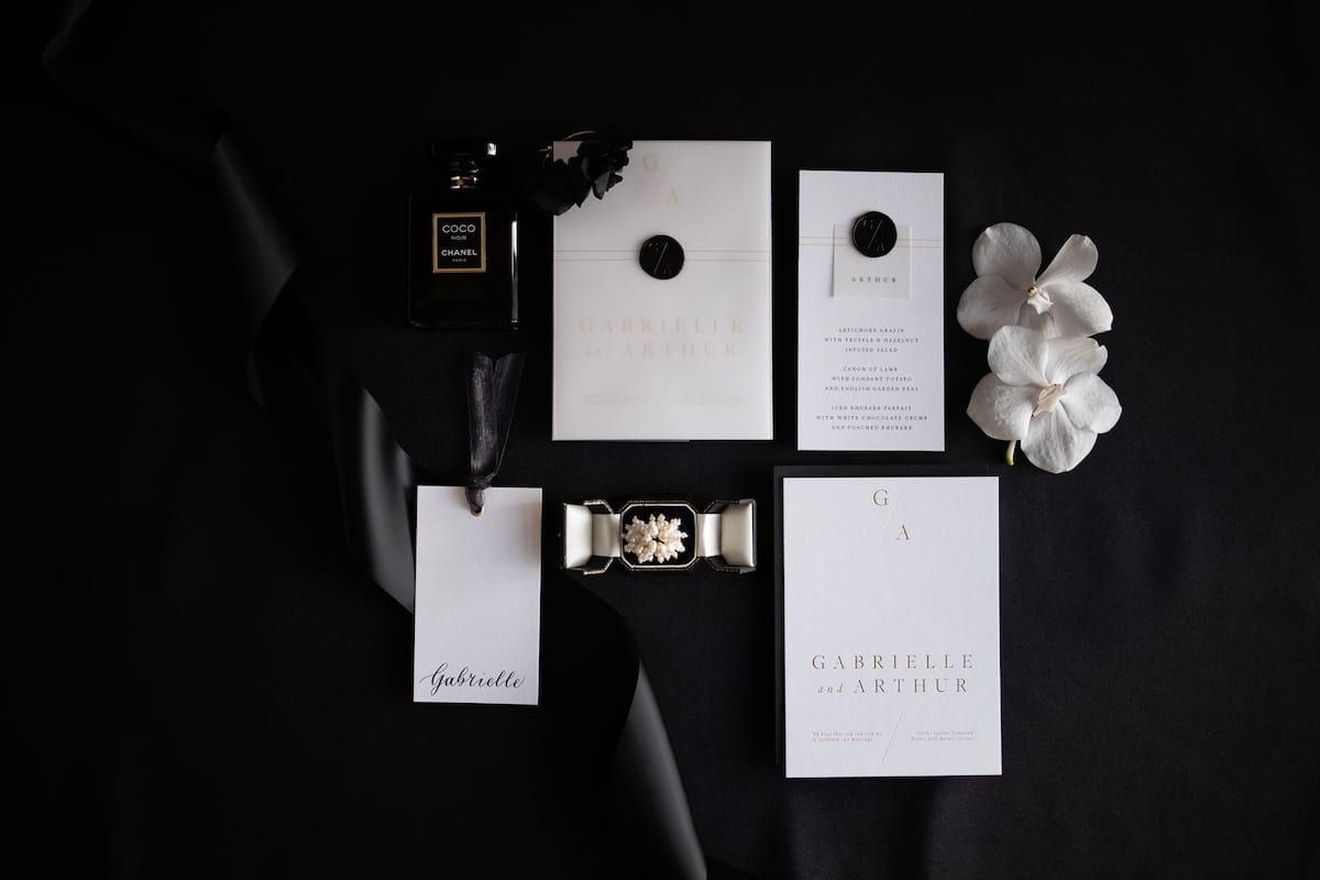 Stationery flat lay wedding
