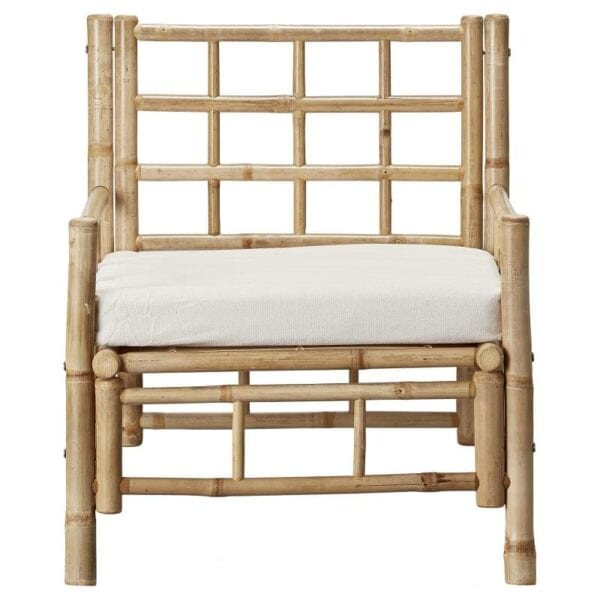 Modern bamboo and canvas outdoor chair