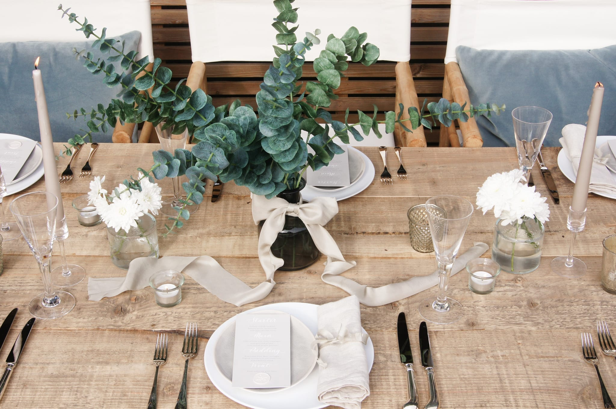 Styling Inspiration with eucalyptus and ribbon