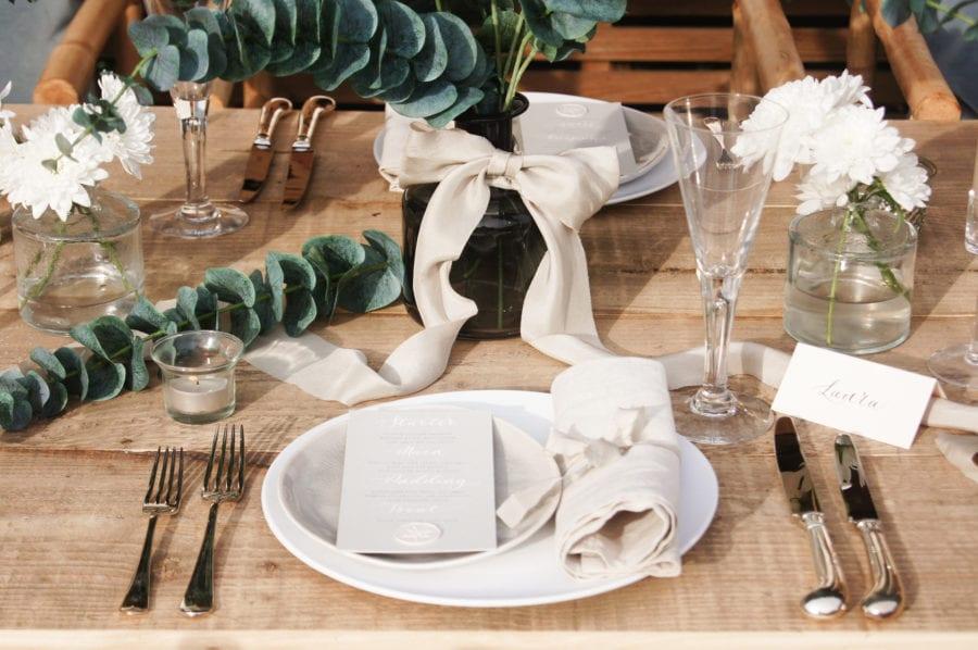 Eucalyptus & ribbon tablescape