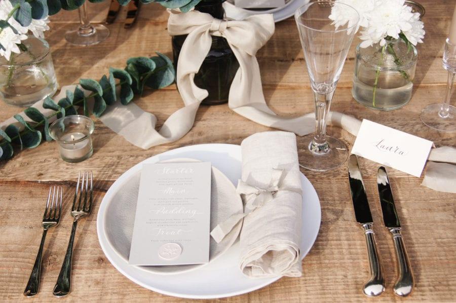 Wedding menu on place setting