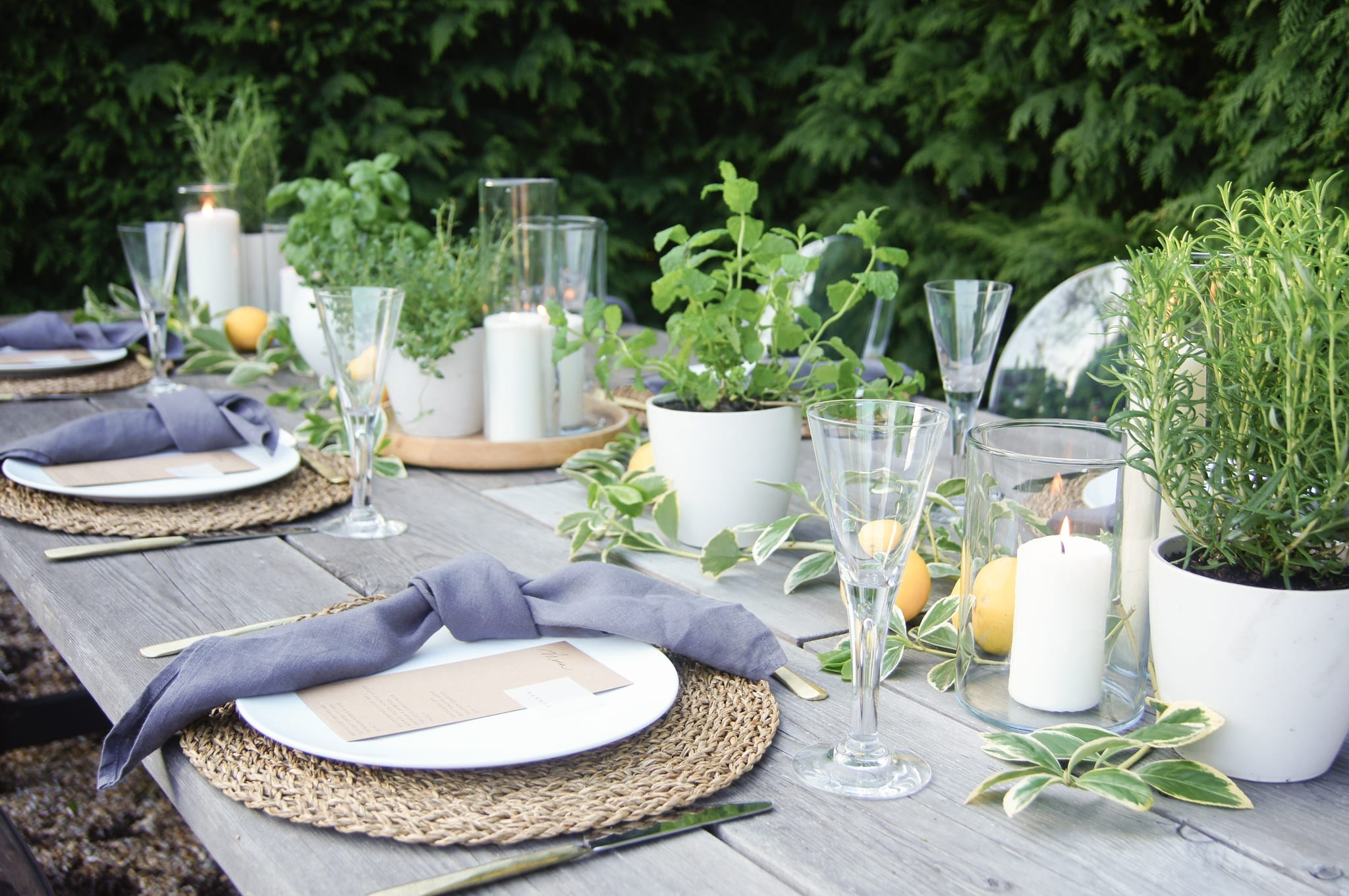 Herbs and Lemons table styling