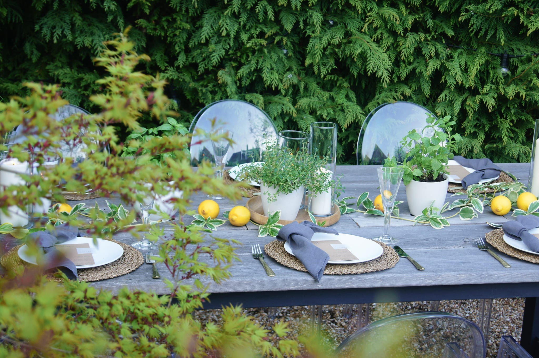 View of table with herbs and lemons styling