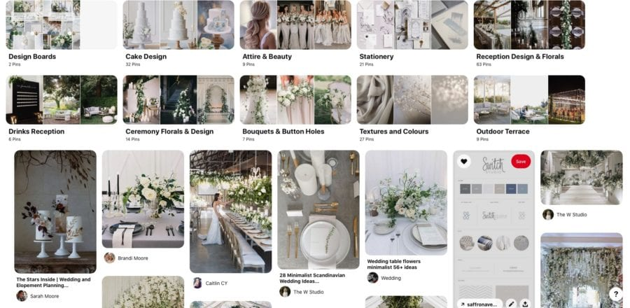 Example of Pinterest Board for wedding planning