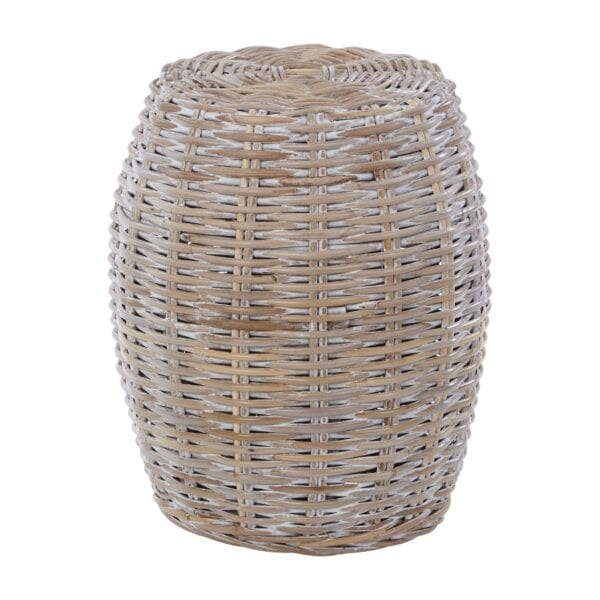 White washed rattan stool for hire to weddings and events