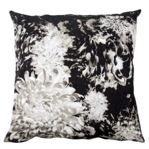 Florence Cushion - black and white. Available to hire for weddings and events