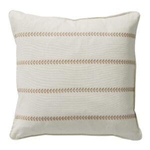 Orla off white cushion with stitch detail for hire to weddings and events