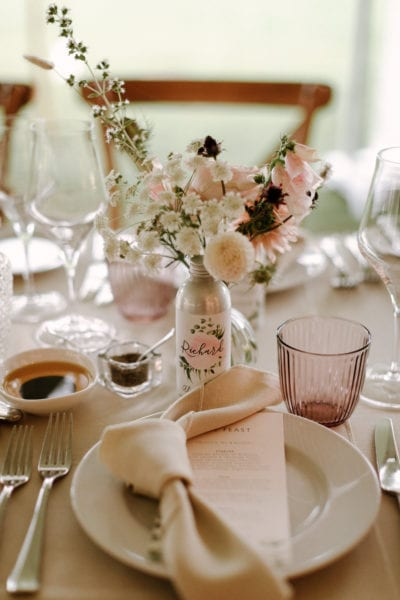 Wedding place setting detail with favours