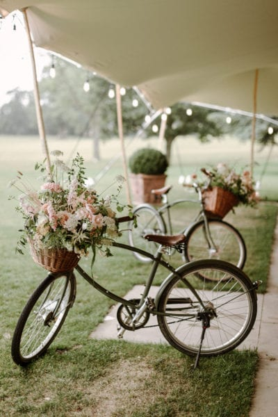 Bicycles with flowers for wedding display