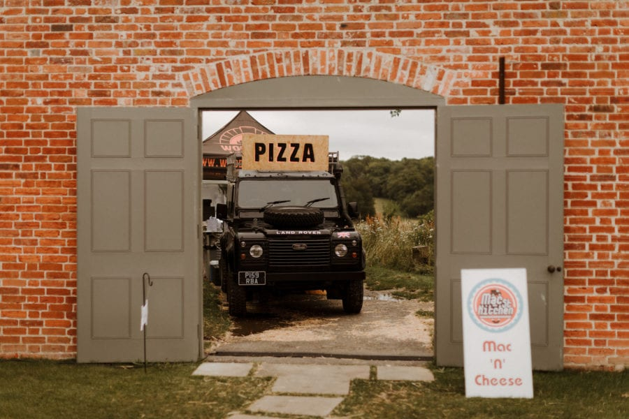 Pizza truck at street food farewell wedding party