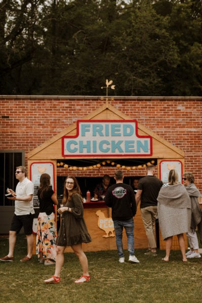 Fried chicken street food at farewell wedding party