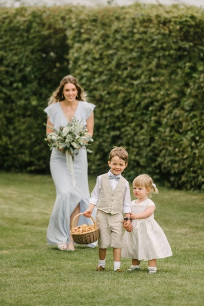 Bridesmaids and Flower girls at English country wedding