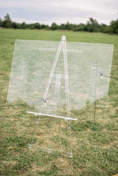 Acrylic easel with seating plan for wedding