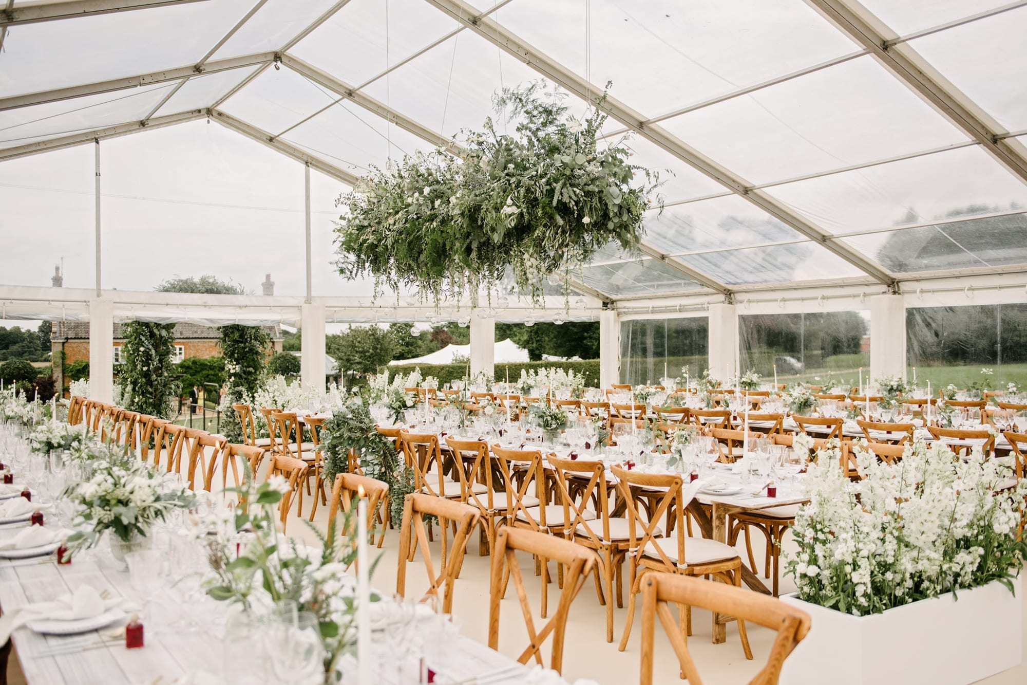 Marquee set up in garden of family home in Norfolk