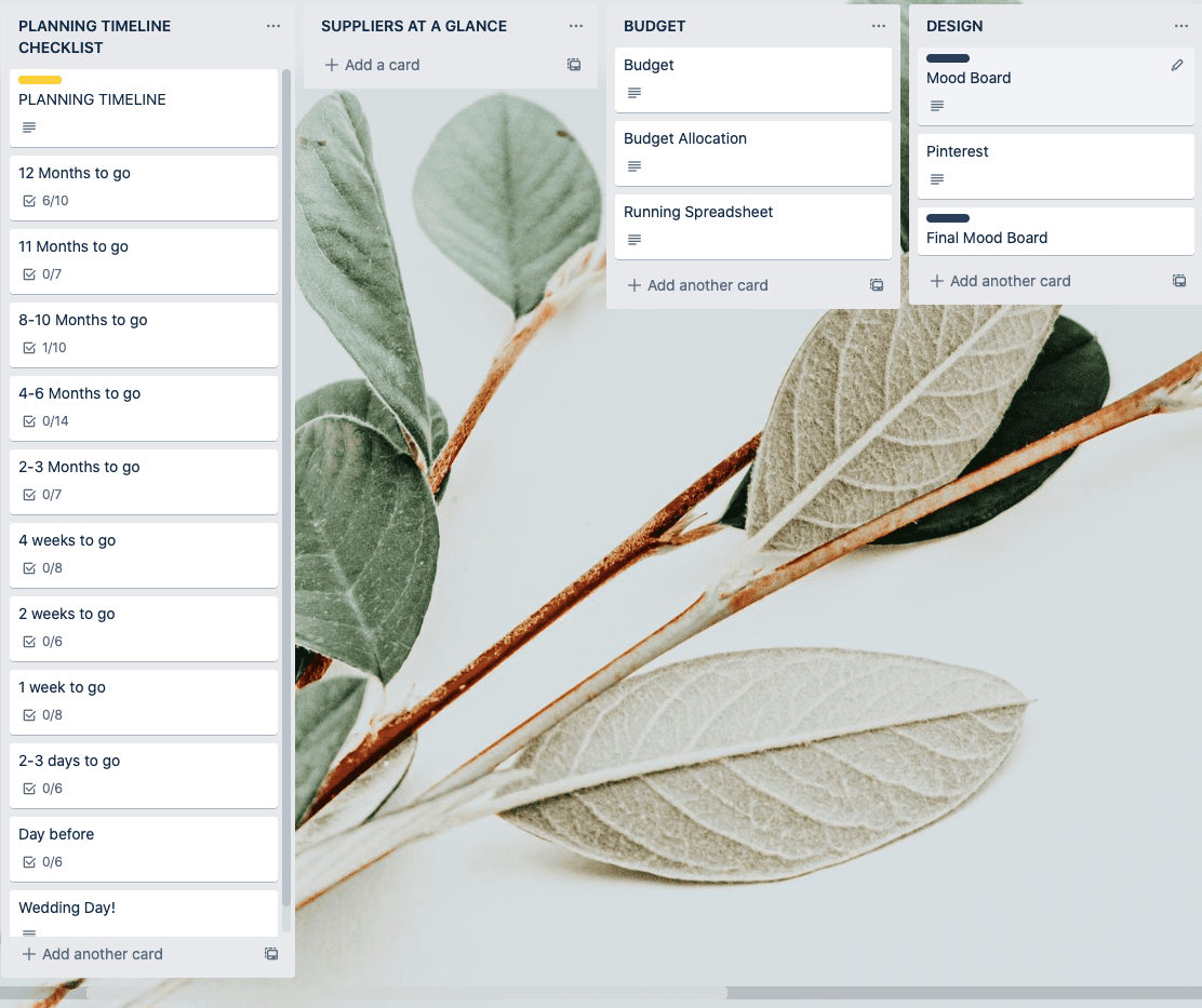 Example of Trello board for wedding planning