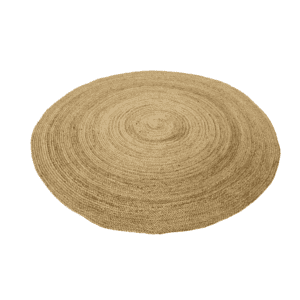 Large round hemp rug for hire to wedding and events