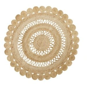 Round Jute Rug to hire for weddings and events