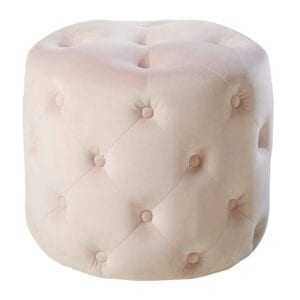 Blush velvet pouffe to hire for weddings and events