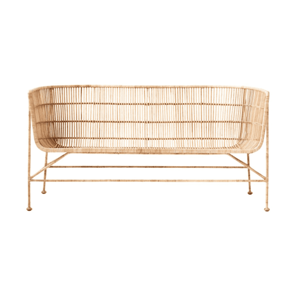 Rattan sofa - natural, for hire to weddings and events