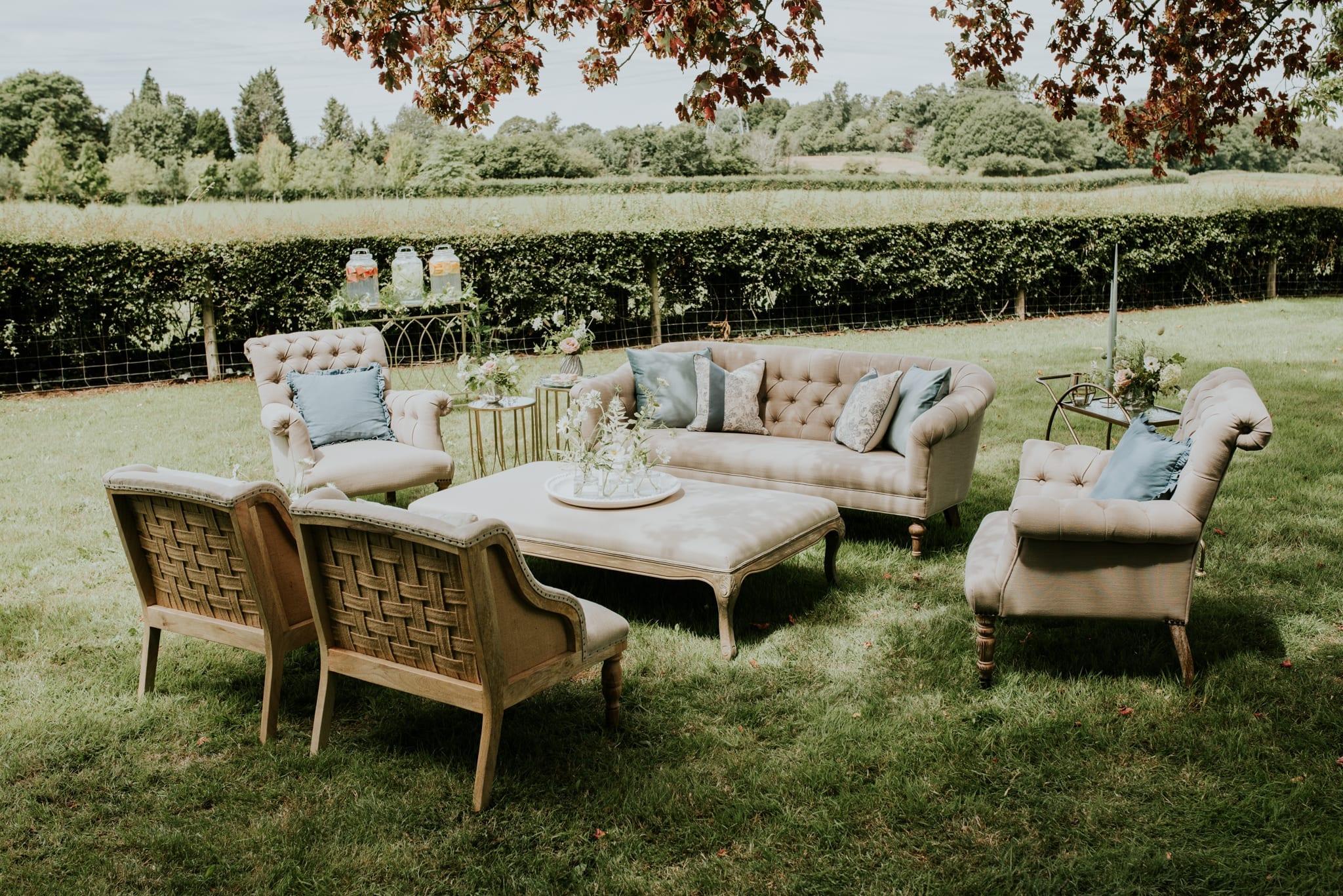 English Country Garden wedding lounge setting