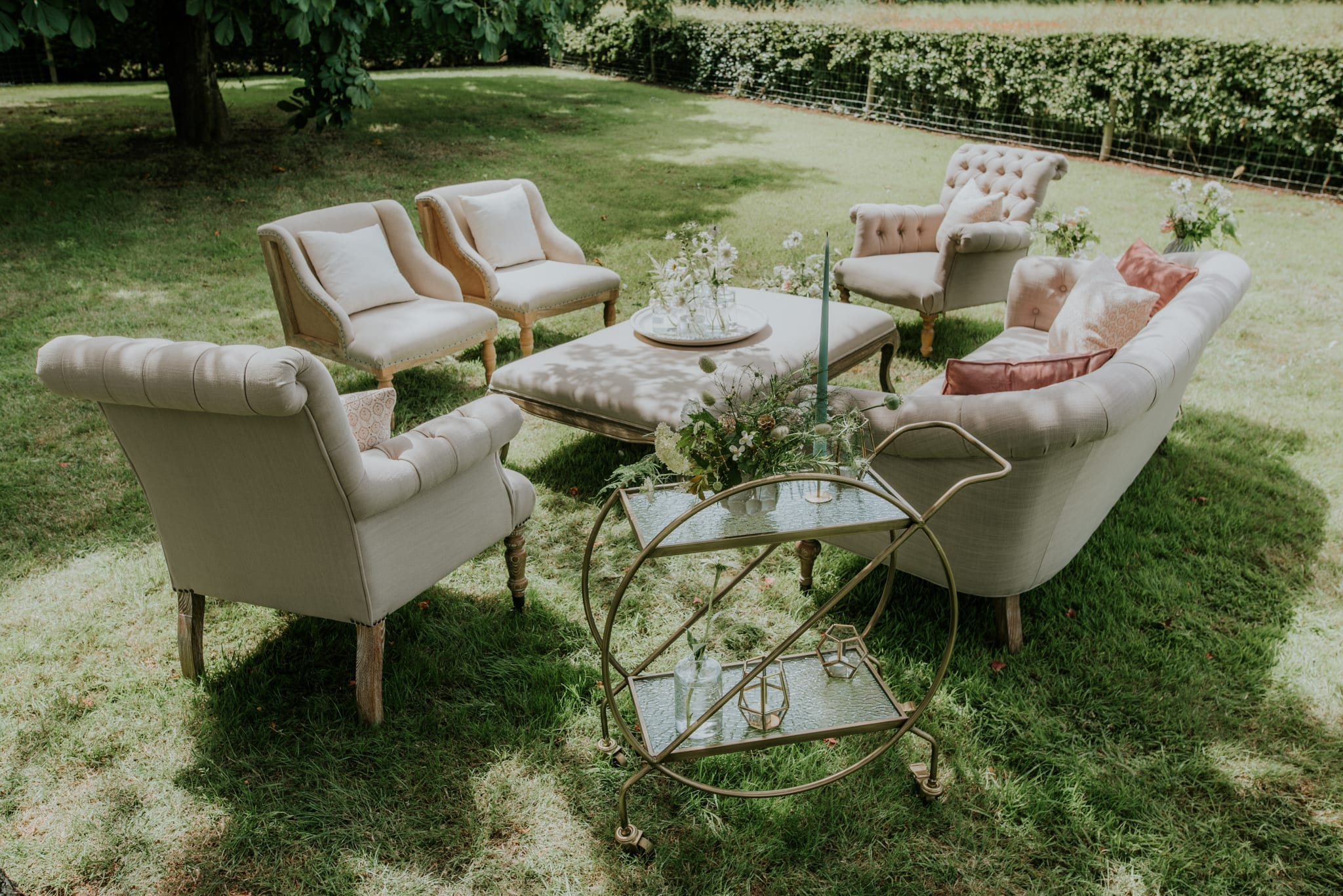 An English Country Garden wedding lounge